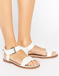 G Star Claro White Leather Flat Sandals White Leather