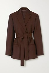Acne Studios Janine Belted Double Breasted Wool And Mohair Blend Blazer Brown