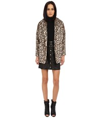 The Kooples Fake Fur Leopard Print Coat Black Women's Coat