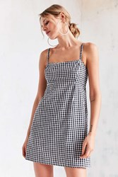 Cooperative Straight Neck Gingham Dress Black And White