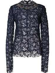 Monique Lhuillier Embroidered Lace Blouse Black