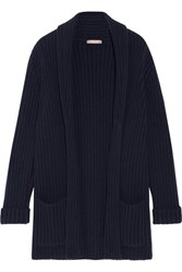 Michael Kors Collection Oversized Ribbed Cashmere Cardigan Navy