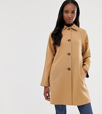 Asos Design Tall Crepe Coat With Buttons Stone