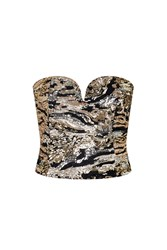 Fly By Rose Gold Mix Sequin Bustier Top By Wyldr Multi