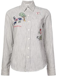 Mother Striped Embroidered Shirt White