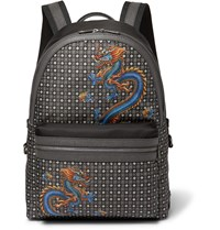 Dolce And Gabbana Dragon Print Leather Trimmed Shell Backpack Black