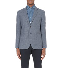 Reiss Billie Modern Fit Patterned Wool Jacket Navy
