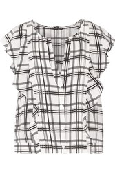Marissa Webb Caris Plaid Silk Georgette Top White