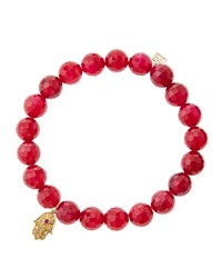 Sydney Evan Red Agate Beaded Bracelet With 14K Gold Hamsa Charm Made To Order