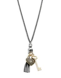 Rj Graziano Faux Pearl Accented Pendant Charm Necklace Grey
