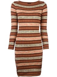 Jean Paul Gaultier Vintage Fair Isle Knitted Dress Brown