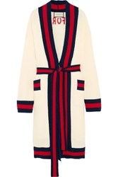 Gucci Embellished Striped Cotton Blend Terry Cardigan Cream