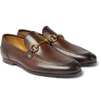Gucci Jordaan Horsebit Burnished Leather Loafers Brown