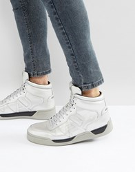 Armani Jeans Silver Logo Hi Top Trainers