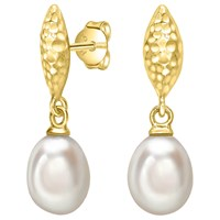 Dower And Hall Hammered Freshwater Pearl Drop Earrings Gold White