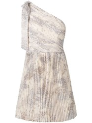 Red Valentino One Shoulder Pleated Dress Neutrals