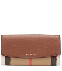 Burberry House Check And Leather Wallet Brown