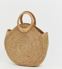 Accessorize Straw Circular Tote Bag With Wood Effect Handle Beige