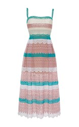 Zuhair Murad Multicolored Macrame Dress With Embroidered Bodice Stripe