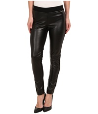 Calvin Klein Pleather Front Leggings Black Women's Casual Pants