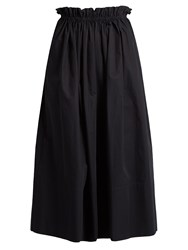 Chloe Paperbag Waist Cotton Skirt Navy