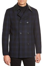 Hugo Trim Fit Plaid Double Breasted Peacoat Navy