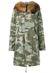 Mr And Mrs Italy Fur Trimmed Camouflage Parka Green