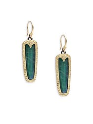Armenta Old World Malachite Rainbow Moonstone Diamond 18K Yellow Gold And Sterling Silver Earrings
