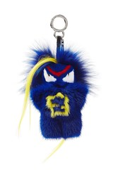 Fendi Bag Bug Key Chain With Mink And Fox Fur Multicolor