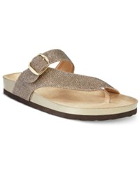 White Mountain Henri Footbed Sandals A Macy's Exclusive Style Women's Shoes Gold Glitter