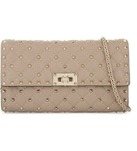 Valentino Quilted Spike Leather Cross Body Poudre