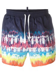Dsquared2 Beachwear Tie Dye Swim Shorts Blue
