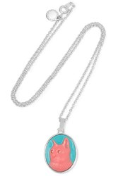 Marc By Marc Jacobs Rue Silver Tone Crystal And Enamel Pendant Blue