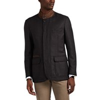 Brioni Suede Trimmed Wool Jacket Charcoal