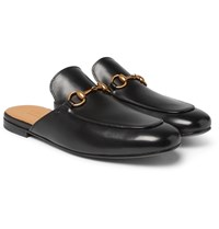 Gucci Kings Horsebit Leather Backless Loafers Black