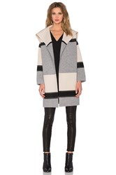 Vince Colorblock Car Coat Cream