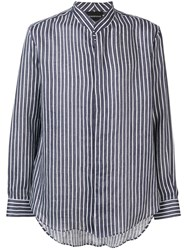 Emporio Armani Striped Collarless Shirt Blue