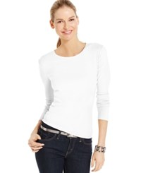 Charter Club Solid Long Sleeve Pima Cotton Top Bright White