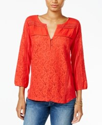 Lucky Brand Mixed Media Peasant Top Tomato Red