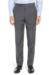 John W. Nordstrom Big And Tall Torino Traditional Fit Flat Front Plaid Wool Trousers Grey