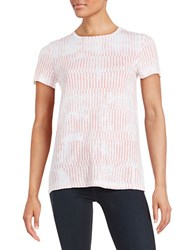 Lord And Taylor Petite Patterned Cotton Tee Grapefruit