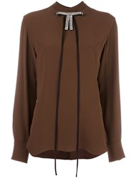 Marni Crystal Bow Embellished Blouse Brown