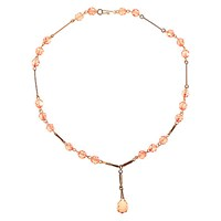 Alice Joseph Vintage 1930S Rolled Gold Glass Crystal Bead Drop Necklace Blush
