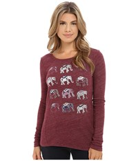 Lucky Brand Repeat Elephant Tee Mixed Berry Women's T Shirt White