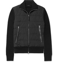 Tom Ford Slim Fit Merino Wool And Quilted Shell Down Cardigan Black