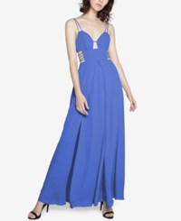 Fame And Partners Georgette Maxi Dress With High Slit Cornflower Blue