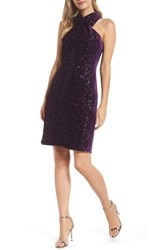 Eliza J Halter Sheath Dress Plum