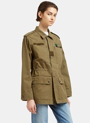 Saint Laurent Glittered Love Embroidered Military Jacket Khaki