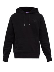 Ralph Lauren Purple Label Logo Embroidered Hooded Cotton Blend Sweatshirt Black
