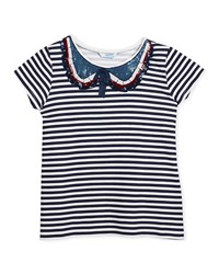 Mayoral Short Sleeve Striped T Shirt W Sequin Peter Pan Collar Size 8 14 Navy